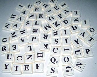 Vintage Upwords Plastic Alphabet Letter Square Tiles Or Game Pieces Ivory with Brown Letters Set of 64