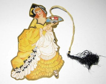 Vintage 1920s or 1930s Art Deco Bridge Tally Talley with Lovely Lady or Woman in Yellow Costume and Fan