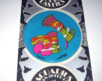 Vintage 1960s or 1970s Set of 6 Zodiac Pasties or Stickers in Original Package Aquarius