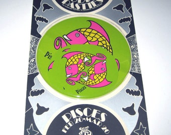 Vintage 1960s or 1970s Set of 6 Zodiac Pasties or Stickers in Original Package Pisces
