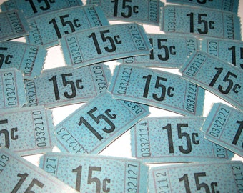 Vintage Blue Carnival or Raffle Tickets 15 Cent Denomination Never Used Set of 22