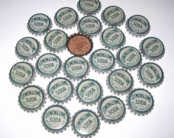 Vintage Bottle Caps with Cork Backs Lemon & Lime Soda Set of 25
