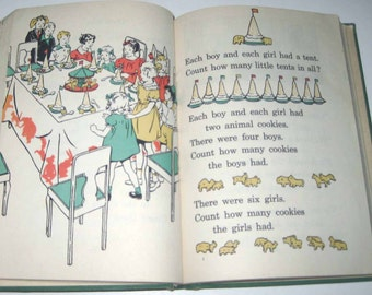 Jolly Number Tales Vintage 1930s Children's School Reader or Textbook by Ginn and Co.
