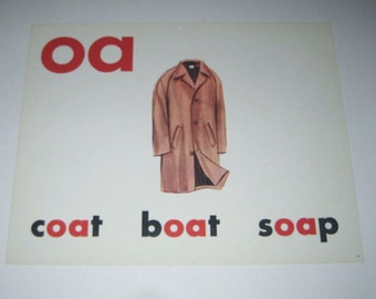 Vintage 1960s Giant Sized School Flash Card with Picture and Word for Coat