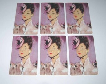 Vintage Playing Cards with Pretty Lady in Hat and Purple Background Set of 6