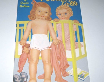 Reproduction Antique Paper Dolls Book for Children Entitled 7 Darling Dolls by Queen Holden