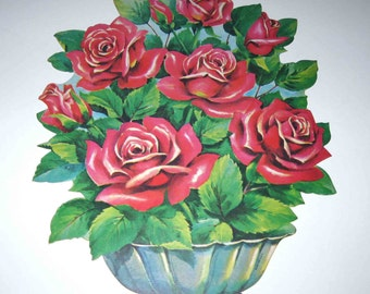 Vintage 1950s Die Cut Cardboard Decoration with Red Roses by Dennison