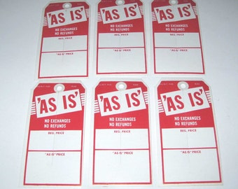 Jumbo Vintage Unused Red and White As Is Store Pricing or Merchandise Tags Set of 6