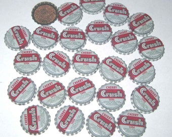 Vintage Bottle Caps with Cork Backs Cherry Crush Soda Set of 25