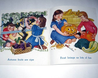 In The Country Vintage 1940s Children's Book with Halloween Jack o Lantern