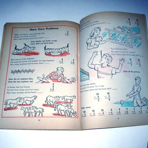 Vintage 1950s Beginning Arithmetic School Workbook for Children