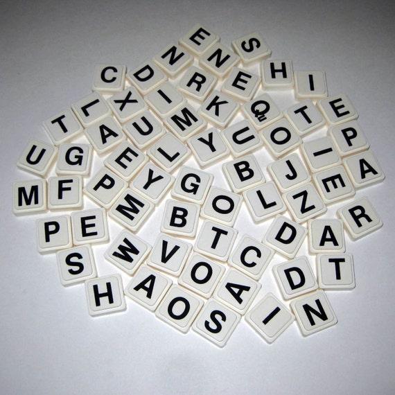 Vintage Plastic Alphabet Letter Square Tiles Or Game Pieces Lot of 63