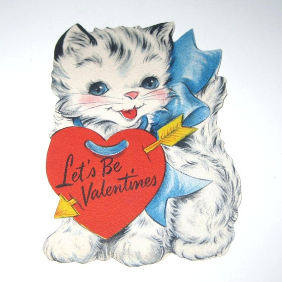 Vintage Unused Children's Novelty Valentine Greeting Card with Cat in Big Blue Bow
