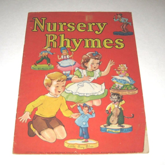 Nursery Rhymes Vintage 1940s Over Sized Children's Book by Whitman