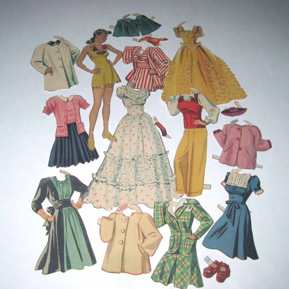 Vintage 1940s Paper Dolls with Pretty Woman and Outfits