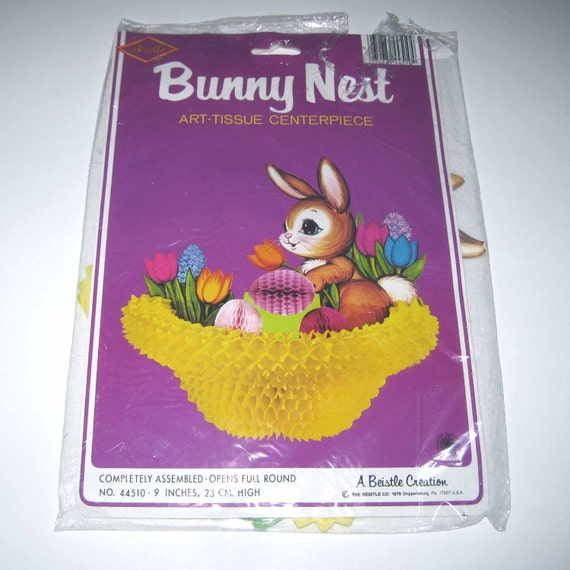 Vintage 1970s Bunny Nest Die Cut Centerpiecec with Honeycomb in Original Package by Beistle