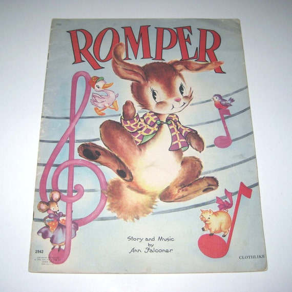 Romper Vintage 1940s Over Sized Textured Children's Book with Music and Story