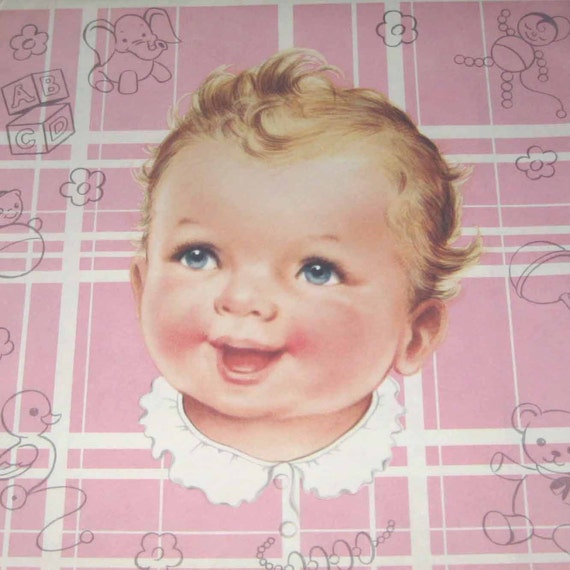 Vintage Pink Wrapping Paper or Gift Wrap with Baby and Toys