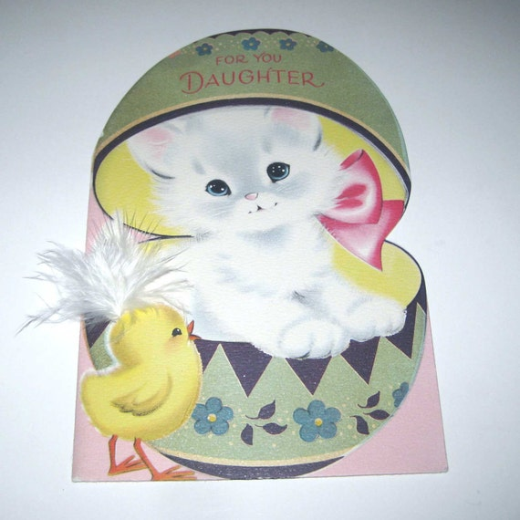 RESERVED FOR HAPPYTOBEME Vintage Large Easter Greeting Card with Cute White Cat in Easter Egg with Chick with Real Feather by Norcross