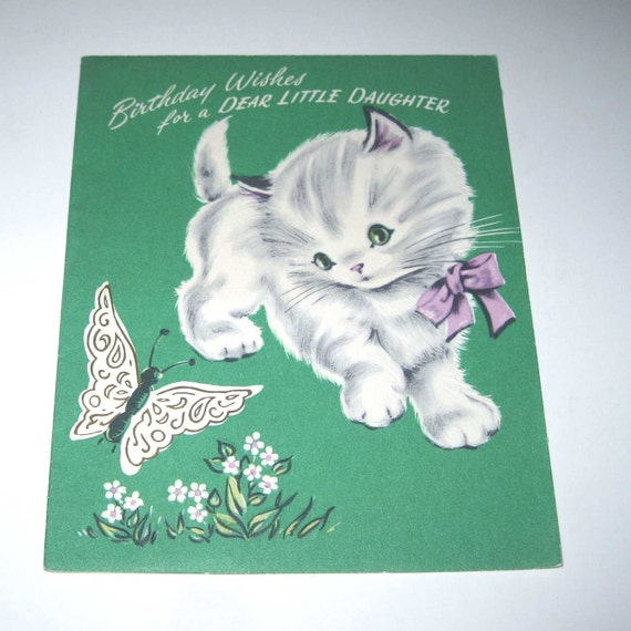 RESERVED FOR RCSO414 Vintage 1950s Children's Birthday Greeting Card with Grey and White Cat and Butterfly