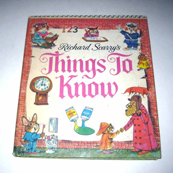 RESERVED FOR LAURA Richard Scarry's Thing's To Know Vintage 1970s Over Sized Childrens Book