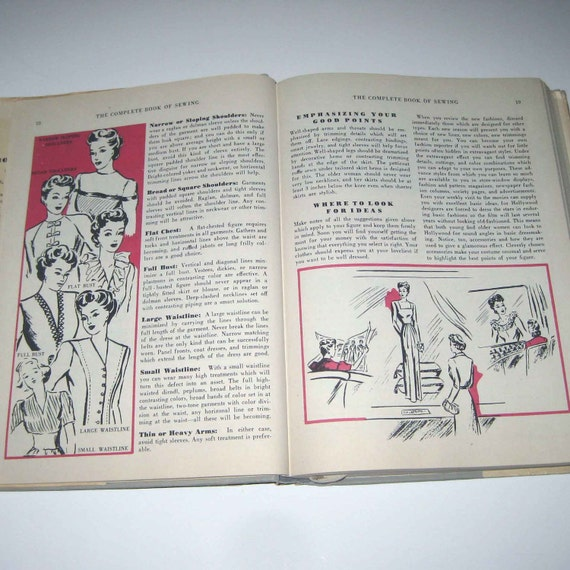 The Complete Book of Sewing with Over 750 Explanatory Pictures Vintage 1940s How To Book