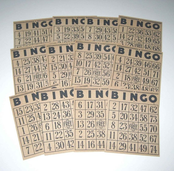 RESERVED FOR EMILY Vintage Bingo Cards Lot of 12
