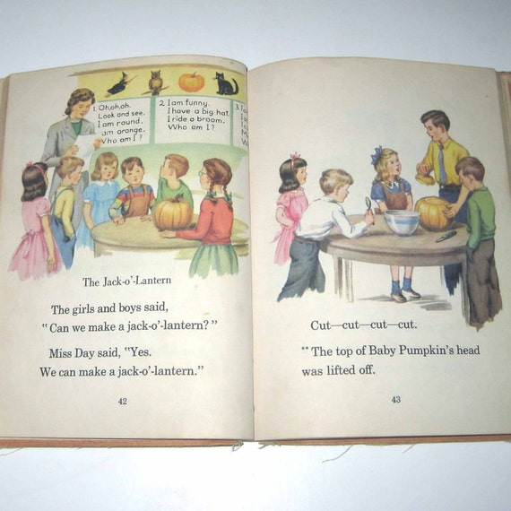 Working and Playing Vintage 1950s Children's School Reader or Textbook with Halloween and Santa