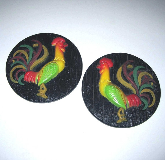 Set of 2 Vintage 1970s Miller Studio Red Green and Yellow Chalkware Rooster Plaques for Kitschy Home Decor
