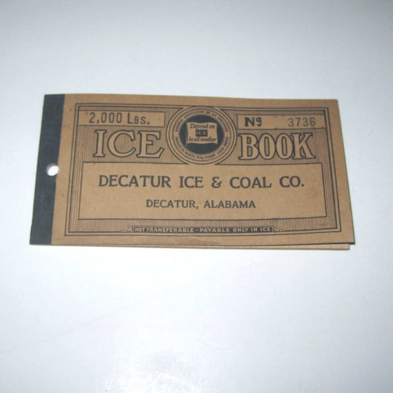 Vintage 1930s Ice Coupon Book From Decatur Ice and Coal Co. 56 Coupons
