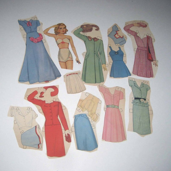 Vintage 1940s Queen Holden All Size Paper Dolls Girl and Outfits