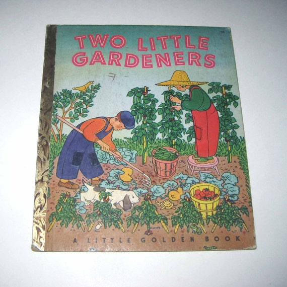 Two Little Gardeners Vintage 1950s Little Golden Book for Children