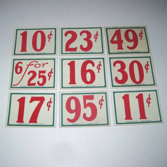 Vintage Lot of 9 Store Pricing Tags with Large Red Numbers Lot B