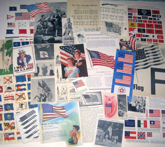 Vintage Patriotic Flags Fourth of July Americana Uncle Sam and Fireworks Ephemera Pack