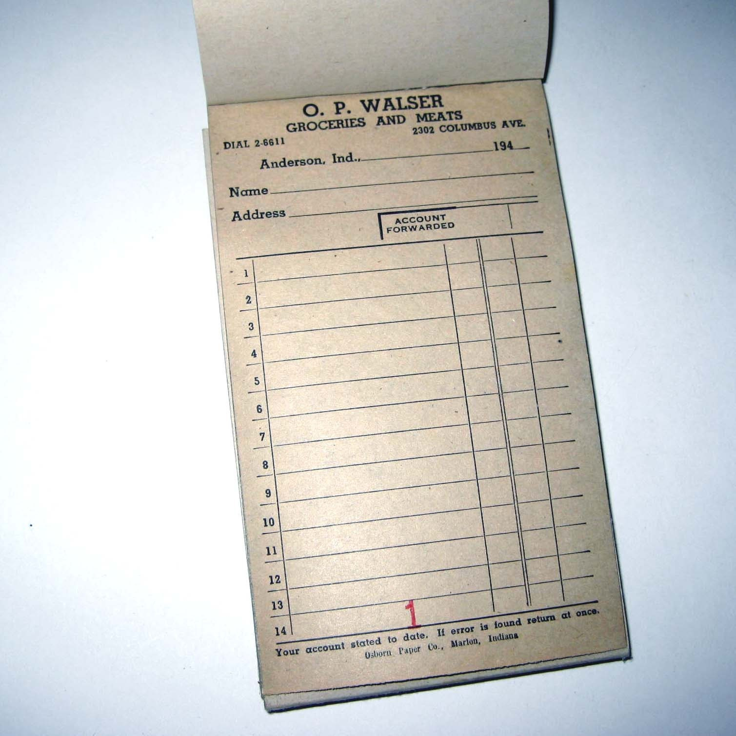 Vintage 1940s Receipt Pad From Old Grocery Store