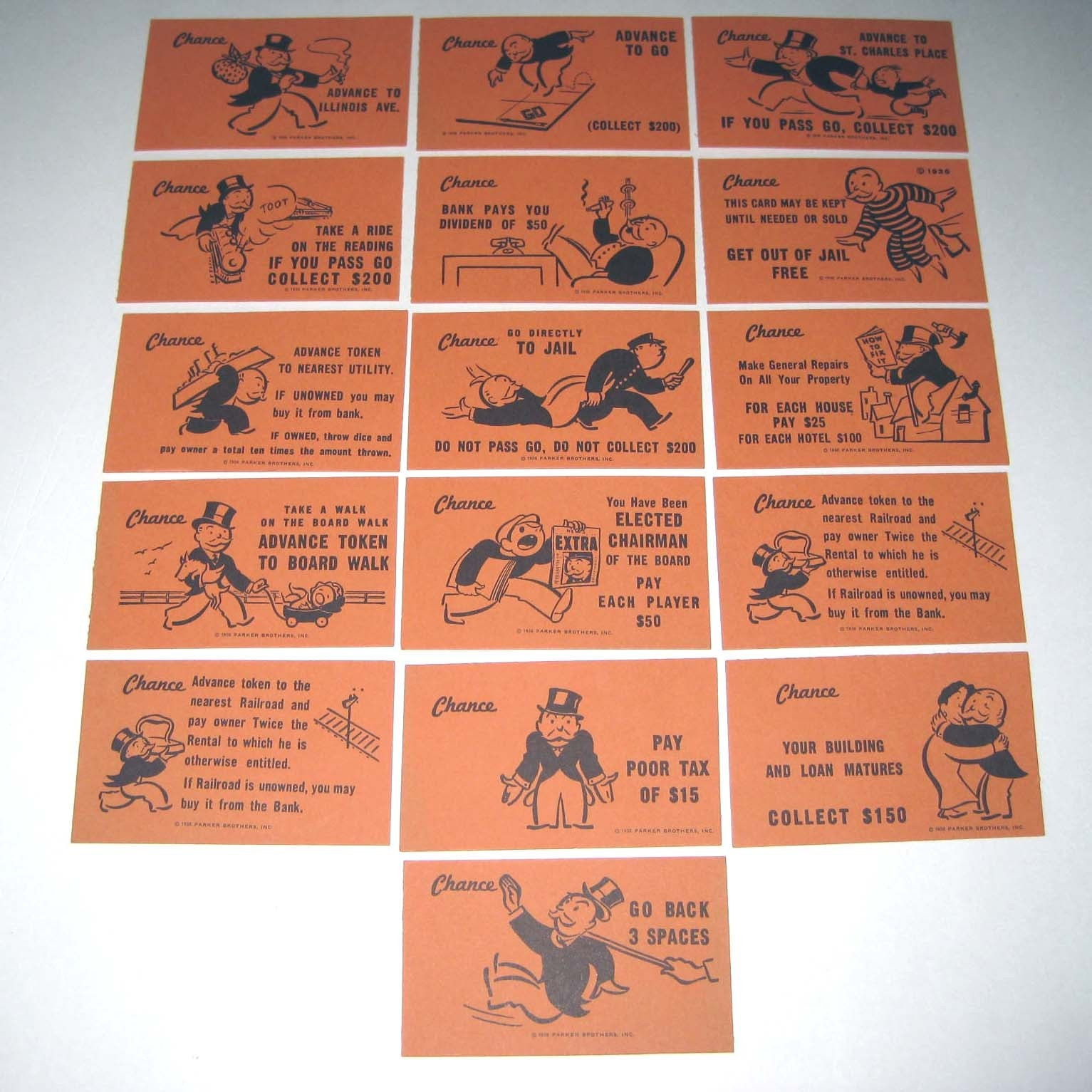Lot of 16 Vintage Monopoly Chance Game Card Pieces for