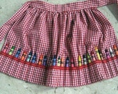 CRAYON APRON Reversible Childs Crayon Apron with 24 Crayola Crayons - Free Shipping