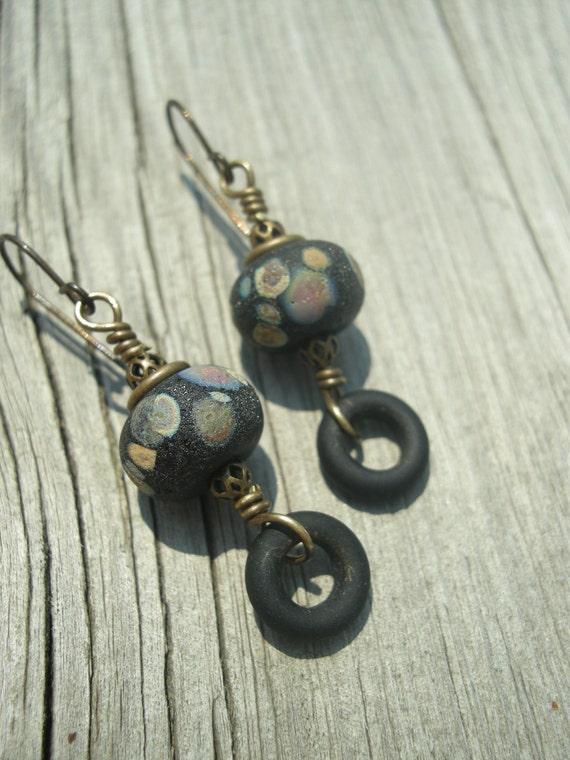 Rustic Sedona ... Lampwork and Brass Earrings