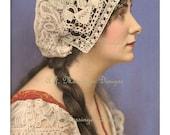 Vintage 1913 Pastel Portrait Of Woman-  Miss Valli Valli 8x10 Antique Print Digital Download