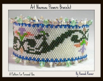 Peyote Bracelet Pattern - Art Nouveau Flowers peyote stitch TUTORIAL INSTRUCTIONS