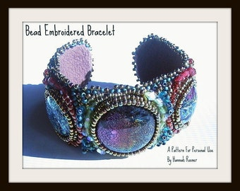 RECENTLY UPDATED - Beginning Bead Embroidery Pattern or Instructions - Seed Bead Embroidered Tutorial Cuff Bracelet