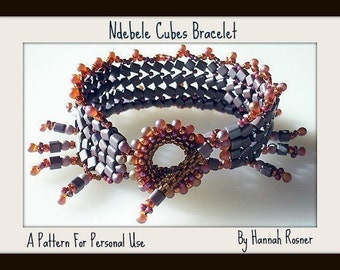 Bead Pattern Herringbone Cubes Bracelet with Toggle Clasp Seed Bead tutorial instructions