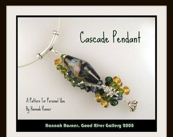 RECENTLY UPDATED - Easy Beading Pattern Cascade Wirewrapped Pendant, Tutorial Instructions beginning wirewrapping necklace by Hannah Rosner