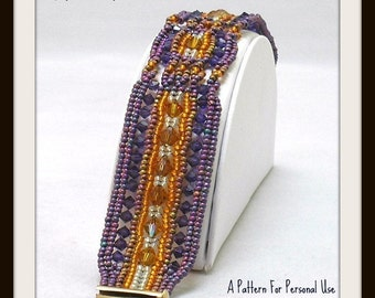 JUST UPDATED - Bead Pattern Ndebele Crystal Cables Herringbone Beaded Bracelet tutorial instructions - by Hannah Rosner