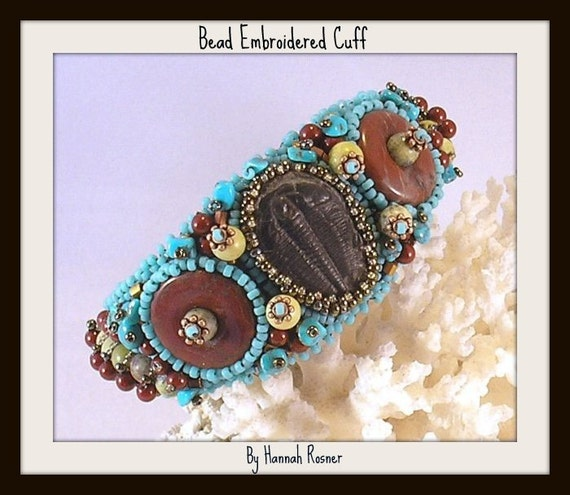 Sterling Trilobite and Turquoise Bead Embroidered Cuff Bracelet