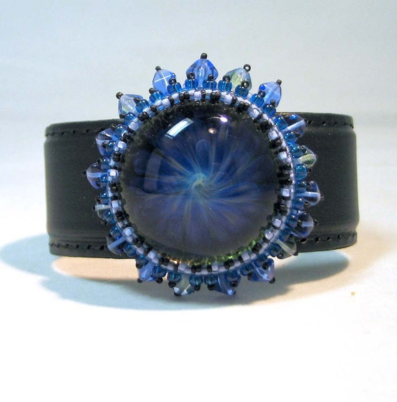 Bead Embroidered Cuff Bracelet - Stormy Swirls Blue Glass