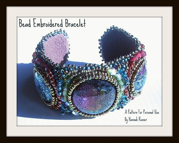 Seed Bead Embroidered Tutorial Cuff Bracelet instructions