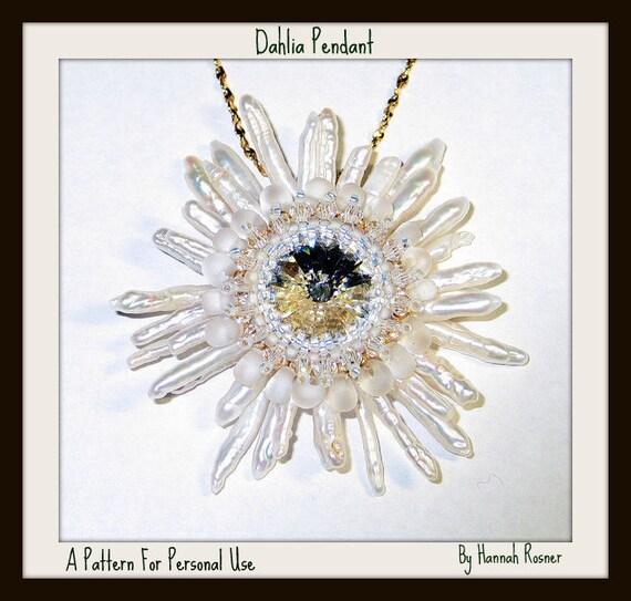 Beading Pattern Dahlia or Snowflake Pendant Seed Bead Peyote Stitch TUTORIAL ONLY