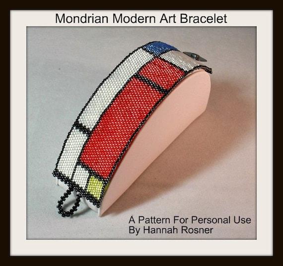 Bead Pattern Mondrian Modern Art Beaded Bracelet peyote stitch  tutorial instructions