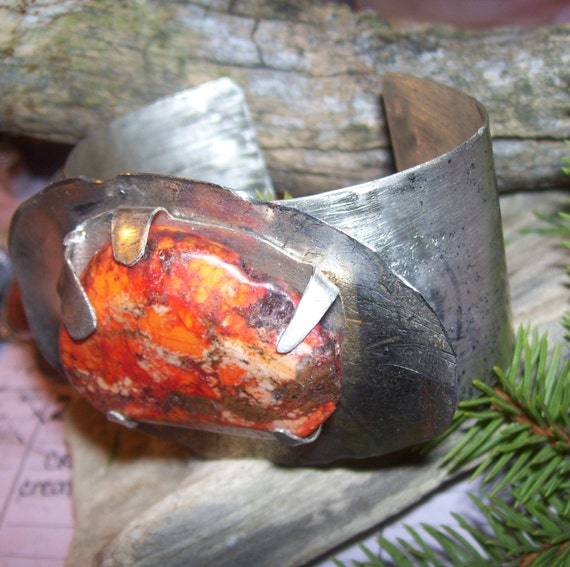Made to Order Orange Magnesite  and Sterling Cuff